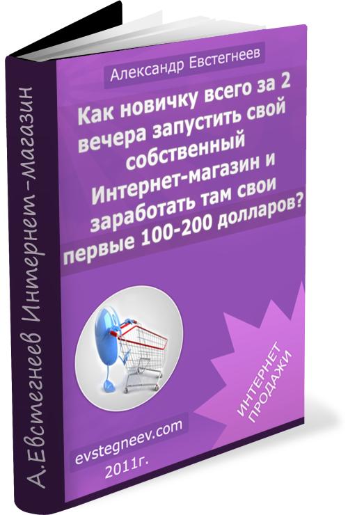 """Книга Александра Евстегнеева: """"Как новичку всего за 2 вечера запустить свой интернет-магазин и заработать там свои первые 100-20"""